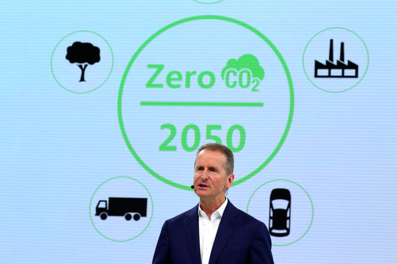 Herbert Diess, chief executive officer of Volkswagen AG (VW), speaks during the automaker's annual news conference in Wolfsburg, Germany, on Tuesday, March 12, 2019.  Volkswagen's profitability for the main VW, Audi and Porsche brands fell last year amid strains for the transition to electric cars and the German carmaker's push for a deeper overhaul. Photographer: Krisztian Bocsi/Bloomberg