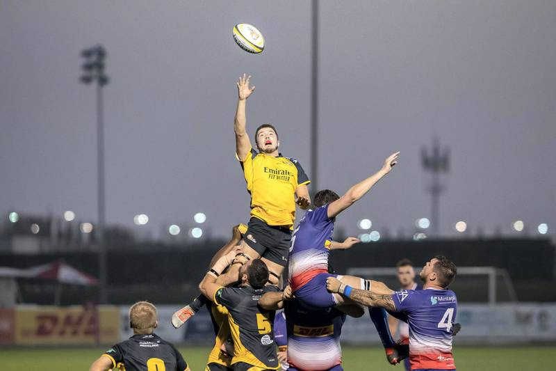 DUBAI, UNITED ARAB EMIRATES. 28 FEBRUARY 2020. Rugby league. West Asia Premiership: Dubai Hurricanes v Jebel Ali Dragons at the Sevens Rugby grpund. (Photo: Antonie Robertson/The National) Journalist: Paul Radley. Section: Sport.