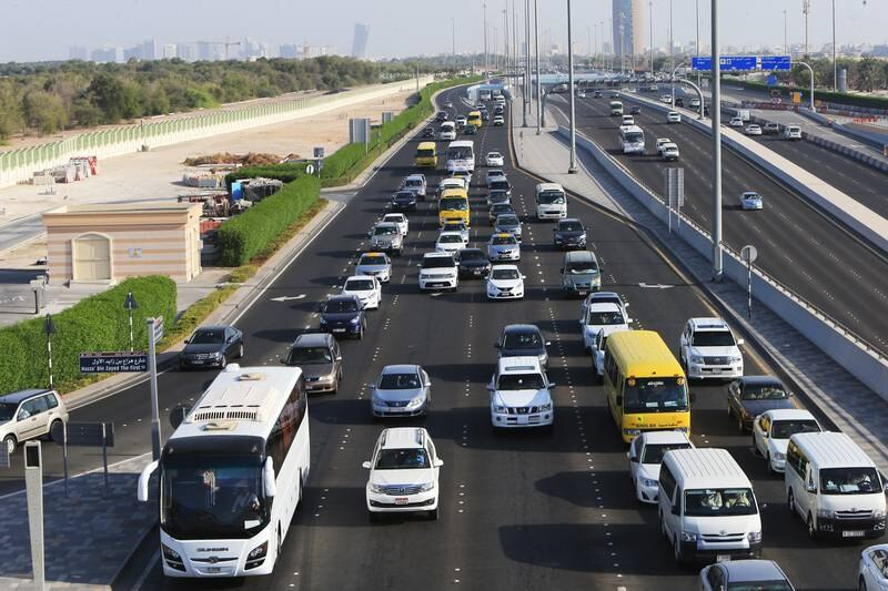 ABU DHABI - UNITED ARAB EMIRATES - 07OCT2014 - Rush hour traffic showing that the majority of the vehicles on a four-lane heading towards Salam Street in Abu Dhabi. Ravindranath K / The National (to go with Ramona story for News)