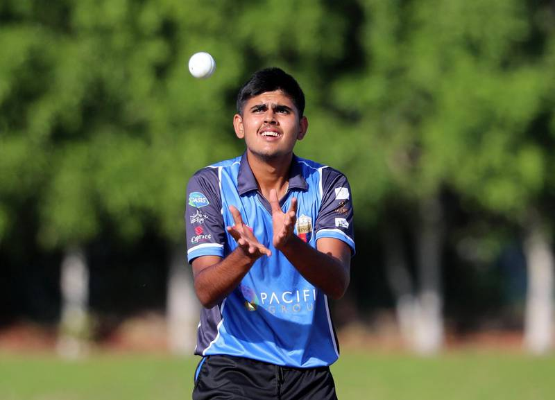 Ajman, United Arab Emirates - December 02, 2020: Sport. King's Aryan Lakra in the game between Team MGM v Kings in the Ajman T10 Talent Hunt League. Wednesday, December 2nd, 2020 in Ajman. Chris Whiteoak / The National
