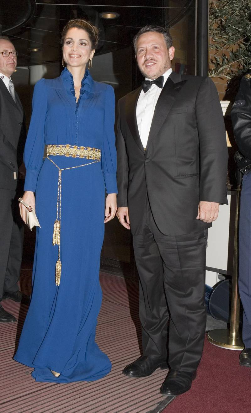 SCHEVENINGEN, NETHERLANDS - OCTOBER 31: King Abdullah II (R) and Queen Rania of Jordan arrive at a dinner hosted by Dutch Queen Beatrix at the Kurhaus Hotel on October 31 2006 in Scheveningen, Netherlands. (Photo by Michel Porro/Getty Images)