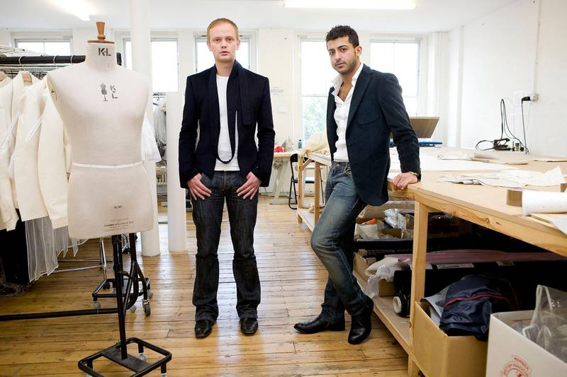 London, August 14 2008. Fashion label Qasimi directors Elliott Frieze (L) and Khalid Alqasimi (R) pose for portraits in the company's East London studio. (Matt Crossick)