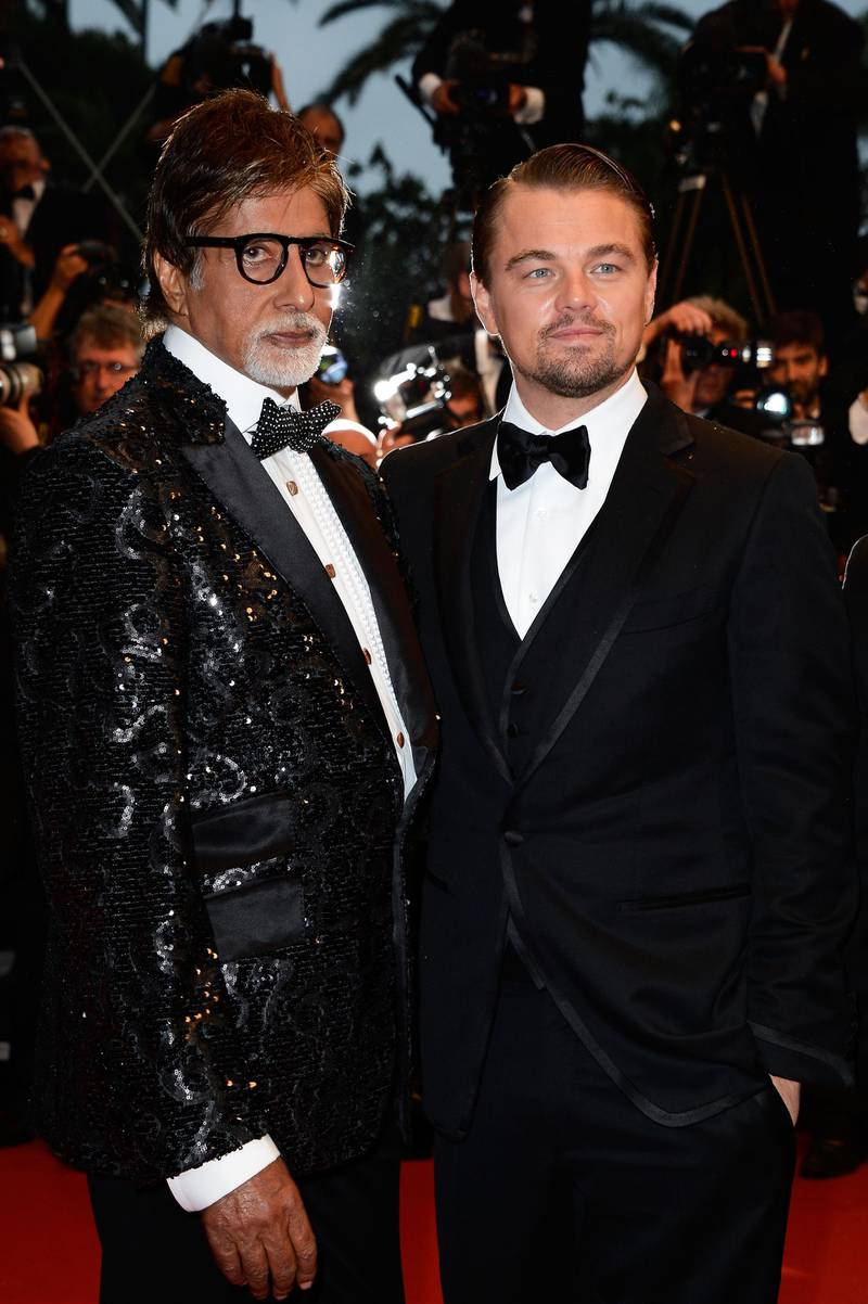 CANNES, FRANCE - MAY 15: (L-R) Amitabh Bachchan and Leonardo DiCaprio attends the Opening Ceremony and 'The Great Gatsby' Premiere during the 66th Annual Cannes Film Festival at the Theatre Lumiere on May 15, 2013 in Cannes, France.  (Photo by Pascal Le Segretain/Getty Images)
