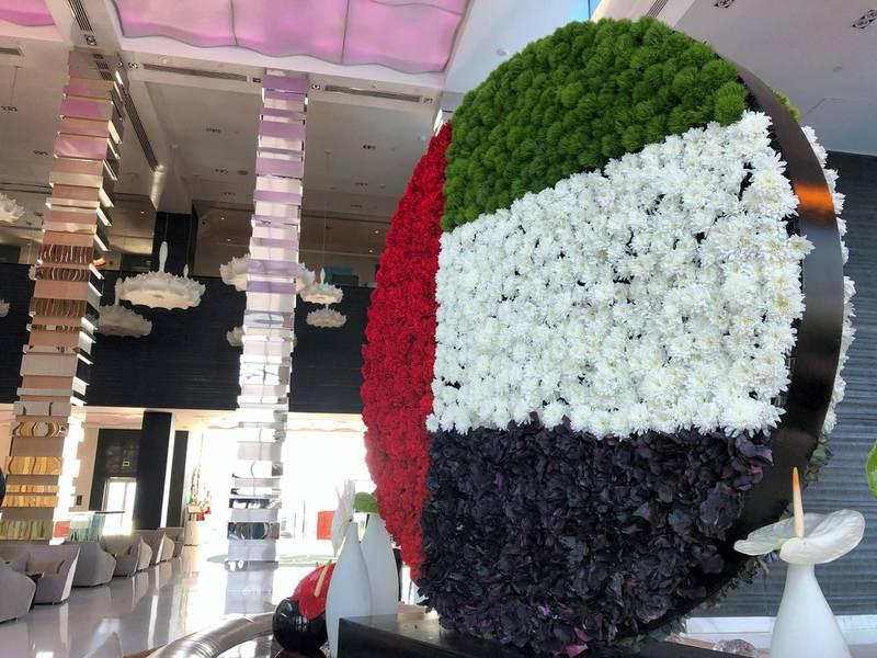 Abu Dhabi, United Arab Emirates - November 29, 2018: Flower arrangement in The Fairmont Abu Dhabi. Chris Whiteoak / The National