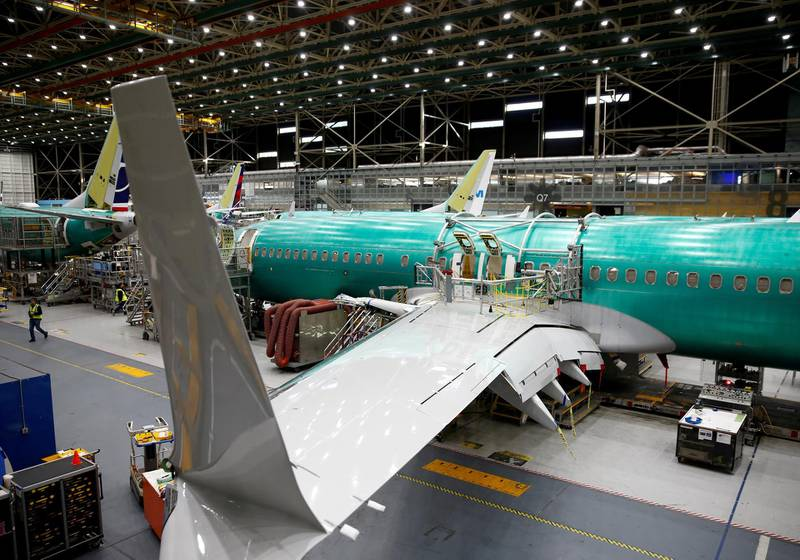 FILE PHOTO: A 737 Max aircraft is pictured at the Boeing factory in Renton, Washington, U.S., March 27, 2019.  REUTERS/Lindsey Wasson/File Photo
