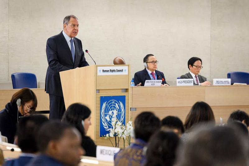 """Russian Foreign Minister Sergei Lavrov addresses the UN Human Rights Council on February 28, 2018 in Geneva. Russian foreign minister Sergei Lavrov said on February 28, 2018, that rebels in Syria's Eastern Ghouta were responsible for ensuring that a """"humanitarian pause"""" in the area delivered relief for devastated civilians.  / AFP PHOTO / Fabrice COFFRINI"""