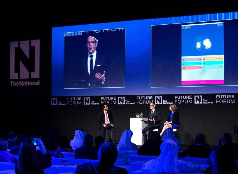Abu Dhabi, UAE.  May 8, 2018. (L-R) Mustafa Alrawi, Olivier Oullier and Cori Lathan on the dialogue on Brain Matters:  The Future of Human Enhancement.Victor Besa / The National