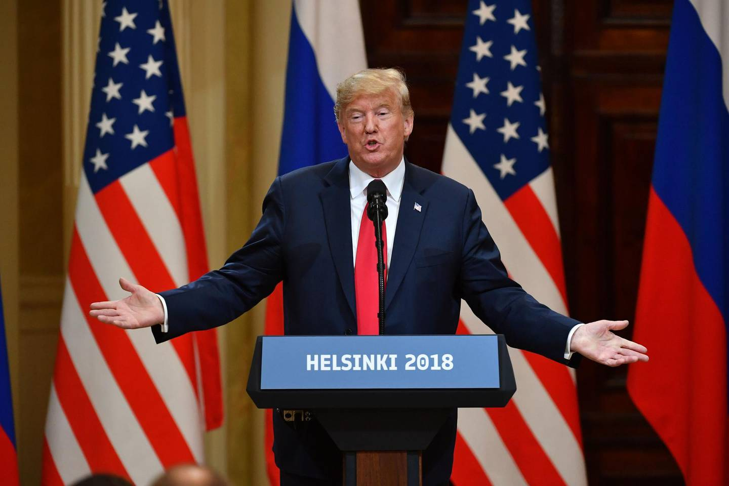 (FILES) In this file photo taken on July 16, 2018 US President Donald Trump speaks during a joint press conference with Russia's President after a meeting at the Presidential Palace in Helsinki. Finnish social media users reacted with derision on June 18, 2020 to the claim that US President Donald Trump questioned whether their country was still a part of neighbouring Russia ahead of his 2018 visit to Helsinki for talks with President Vladimir Putin.  / AFP / Yuri KADOBNOV