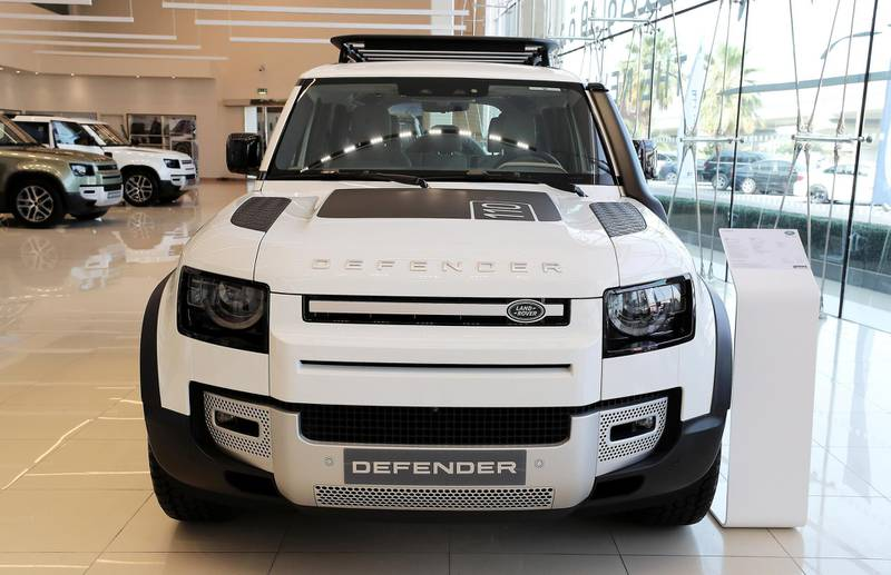 DUBAI, UNITED ARAB EMIRATES , June 27 – 2020 :- Land Rover Defender SE model on display at the Land Rover Defenders showroom on Sheikh Zayed Road in Dubai. (Pawan Singh / The National) For Motoring. Story by Simon