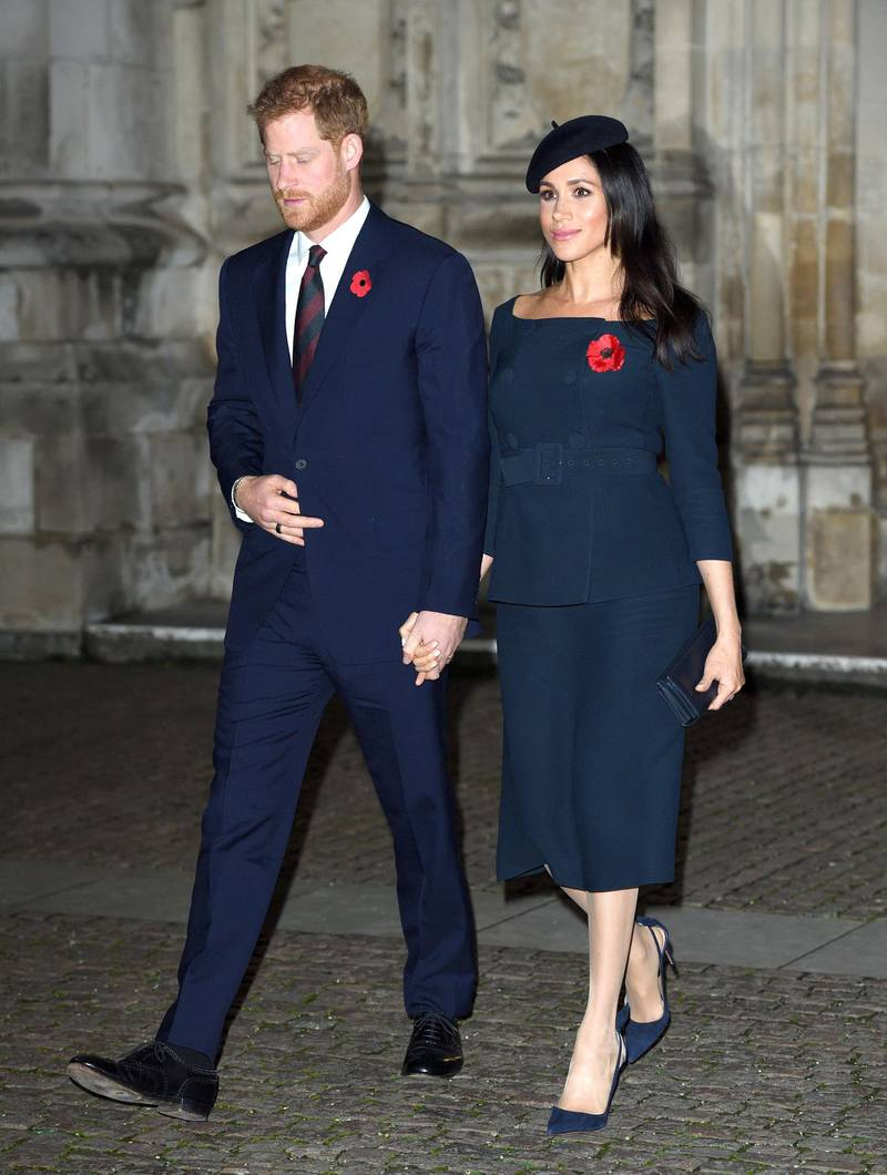 LONDON, ENGLAND - NOVEMBER 11:  Prince Harry, Duke of Sussex and Meghan, Duchess of Sussex attend the Centenary Of The Armistice Service at Westminster Abbey on November 11, 2018 in London, England.  (Photo by Karwai Tang/WireImage)