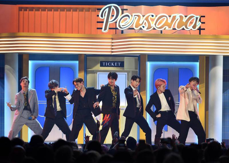 """BTS perform """"Boy With Luv"""" at the Billboard Music Awards on Wednesday, May 1, 2019, at the MGM Grand Garden Arena in Las Vegas. (Photo by Chris Pizzello/Invision/AP)"""