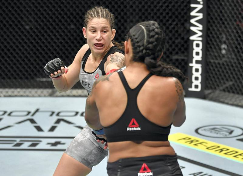 ABU DHABI, UNITED ARAB EMIRATES - JULY 12: (L-R) Karol Rosa of Brazil punches Vanessa Melo of Brazil in their bantamweight fight during the UFC 251 event at Flash Forum on UFC Fight Island on July 12, 2020 on Yas Island, Abu Dhabi, United Arab Emirates. (Photo by Jeff Bottari/Zuffa LLC)