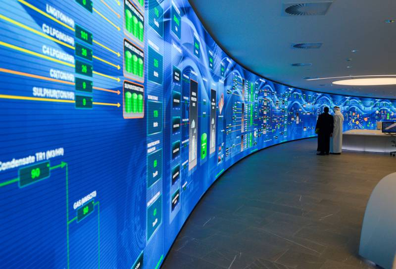 Abu Dhabi, United Arab Emirates - The Panorama Command Centre and Artificial Intelligence space at the ADNOC headquarters, on February 25, 2018. (Khushnum Bhandari/ The National)