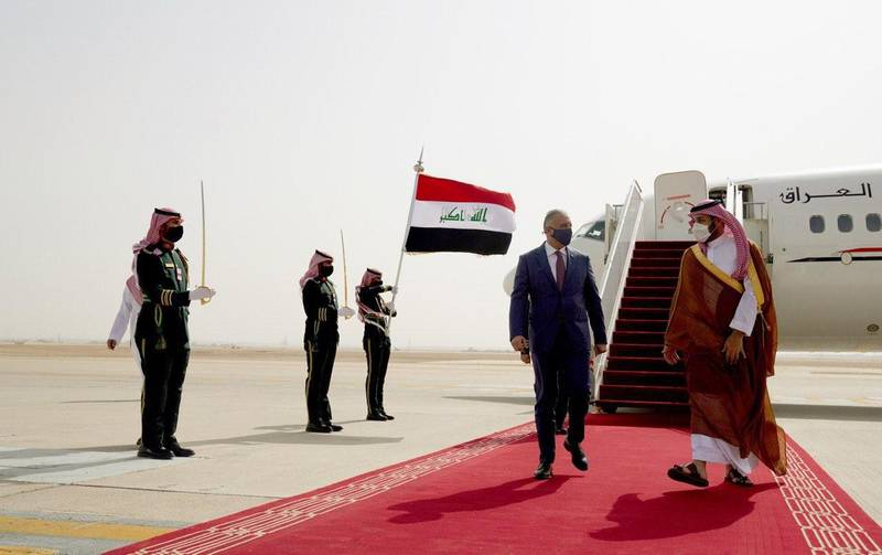 Saudi Crown Prince Mohammed bin Salman welcomes Iraqi Prime Minister Mustafa Al Kadhimi. Iraqi Prime Minister Media Office