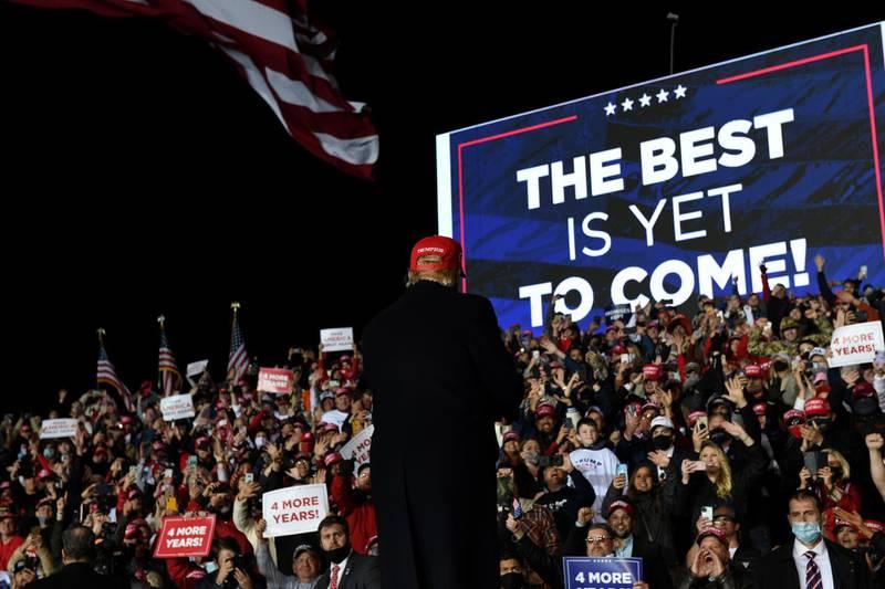 U.S. President Donald Trump holds a campaign rally, in Rome, Georgia, U.S., November 1, 2020. Picture taken November 1, 2020. REUTERS/Brandon Bell