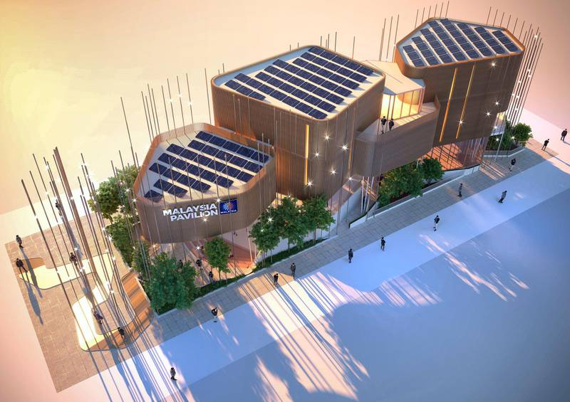 The roof of the Malaysia pavilion  has 40 solar panels attached as part of energy efficiency plans for the structure. Courtesy: Malaysia Pavilion EXPO 2020 Dubai