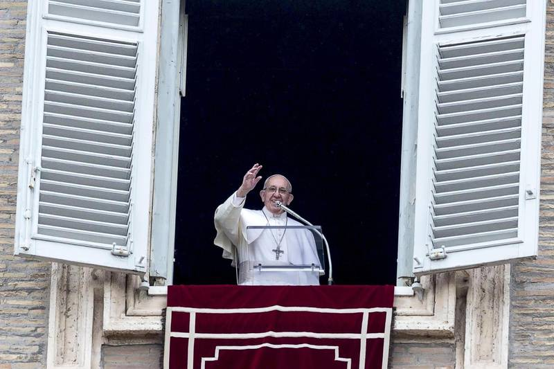 epa07303132 Pope Francis during the Angelus, traditional Sunday's prayer, in St. Peter's Square, Vatican City, 20 January 2019.  EPA/ANGELO CARCONI