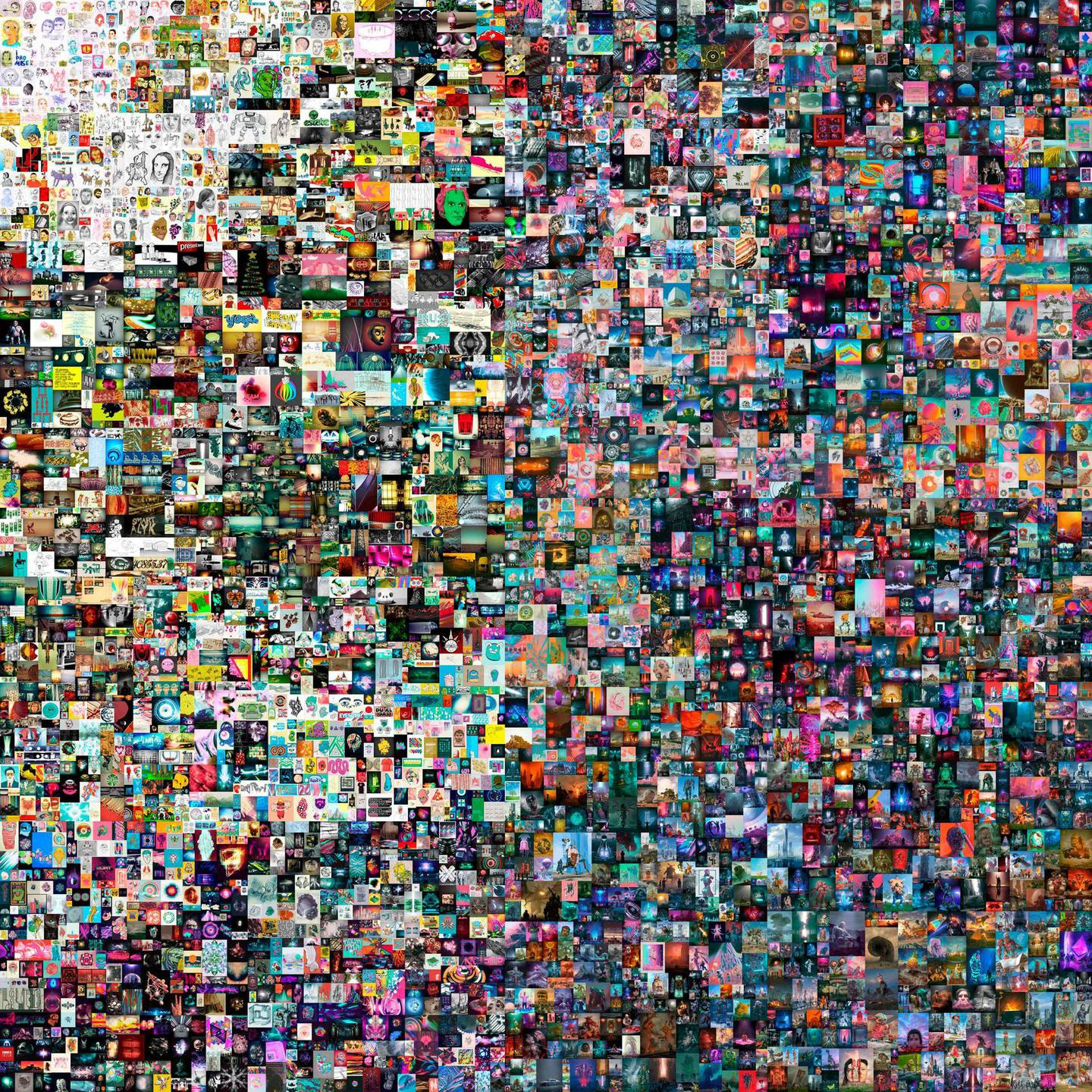 """CORRECTION / This undated handout image obtained March 10, 2021, courtesy of Christie's shows a digital art collage by Beeple, for sale in New York. The digital collage by the American artist Beeple, also known as Mike Winkelmann, a pioneer of the exploding virtual art market, sold for a record $69.3 million, Christie's announced on March 11, 2021. """"Everydays: The First 5,000 Days"""" is now the most expensive NFT -- non-fungible token, or collectible digital asset transformed using blockchain into something ownable -- ever sold. - RESTRICTED TO EDITORIAL USE - MANDATORY CREDIT """"AFP PHOTO /CHRISTIE'S AUCTION HOUSE/HANDOUT """" - NO MARKETING - NO ADVERTISING CAMPAIGNS - DISTRIBUTED AS A SERVICE TO CLIENTS  / AFP / CHRISTIE'S AUCTION HOUSE / Handout / RESTRICTED TO EDITORIAL USE - MANDATORY CREDIT """"AFP PHOTO /CHRISTIE'S AUCTION HOUSE/HANDOUT """" - NO MARKETING - NO ADVERTISING CAMPAIGNS - DISTRIBUTED AS A SERVICE TO CLIENTS"""