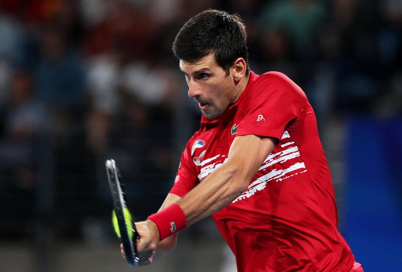 SYDNEY, AUSTRALIA - JANUARY 12: Novak Djokovic of Serbia plays a backhand during his final singles match against Rafael Nadal of Spain during day 10 of the ATP Cup at Ken Rosewall Arena on January 12, 2020 in Sydney, Australia. (Photo by Matt King/Getty Images)