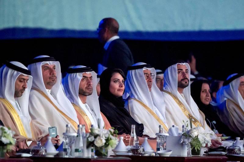 ABU DHABI, UNITED ARAB EMIRATES - January 14, 2019: HH Sheikh Nahyan bin Saif bin Mohamed Al Nahyan (3rd L), HH Sheikh Rashid bin Hamdan bin Mohamed Al Nahyan (5th L), and HH Sheikh Zayed bin Sultan bin Khalifa Al Nahyan (6th L), attend the opening ceremony of the World Future Energy Summit 2019, part of Abu Dhabi Sustainability Week, at Abu Dhabi National Exhibition Centre (ADNEC).    ( Rashed Al Mansoori / Ministry of Presidential Affairs ) ---