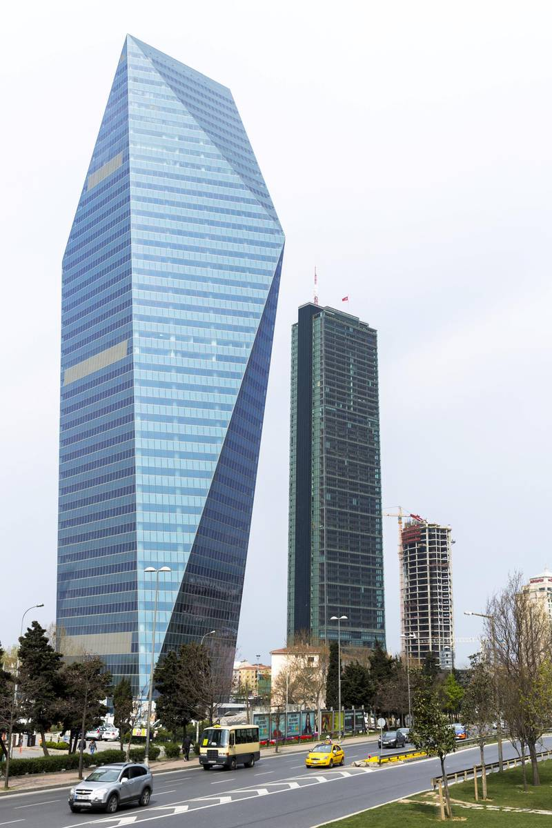 TURKEY - APRIL 03: Levent, financial business district - skyscraper Soyak Tower Center, Istanbul Sapphire Tower shopping center Istanbul, Turkey (Photo by Tim Graham/Getty Images)
