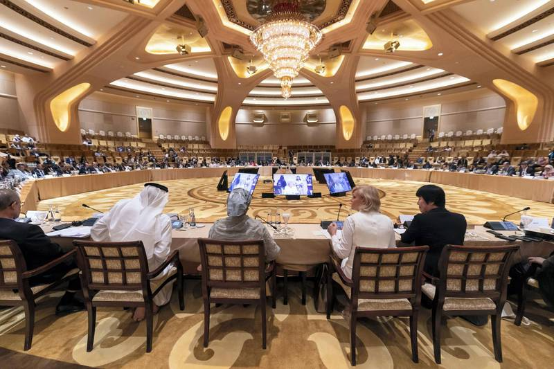 Abu Dhabi, United Arab Emirates - July 01, 2019: Climate and Health MinistersÕ Meeting. There will be three sections: air quality, climate-induced disasters and weather events, and financing approaches for the health-climate nexus. Day 2 of Abu Dhabi Climate Meeting. Monday the 1st of July 2019. Emirates Palace, Abu Dhabi. Chris Whiteoak / The National