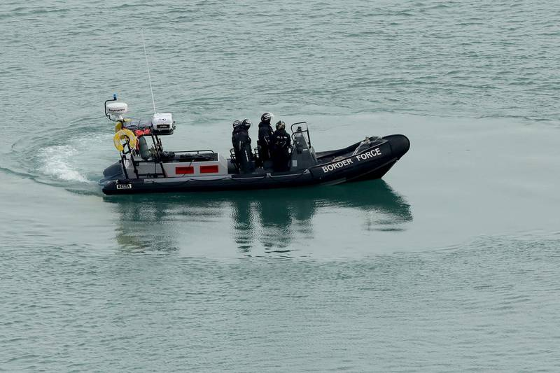 """DOVER, ENGLAND - DECEMBER 29: Uk Border Force boats patrol Dover Harbour as British immigration minister Caroline Nokes visits Uk Border force staff at Dover Marina on December 29, 2018 in Dover, England. The growing number of migrants attempting to cross the English Channel has been declared a """"major incident"""" by UK home secretary Sajid Javid. (Photo by Christopher Furlong/Getty Images)"""