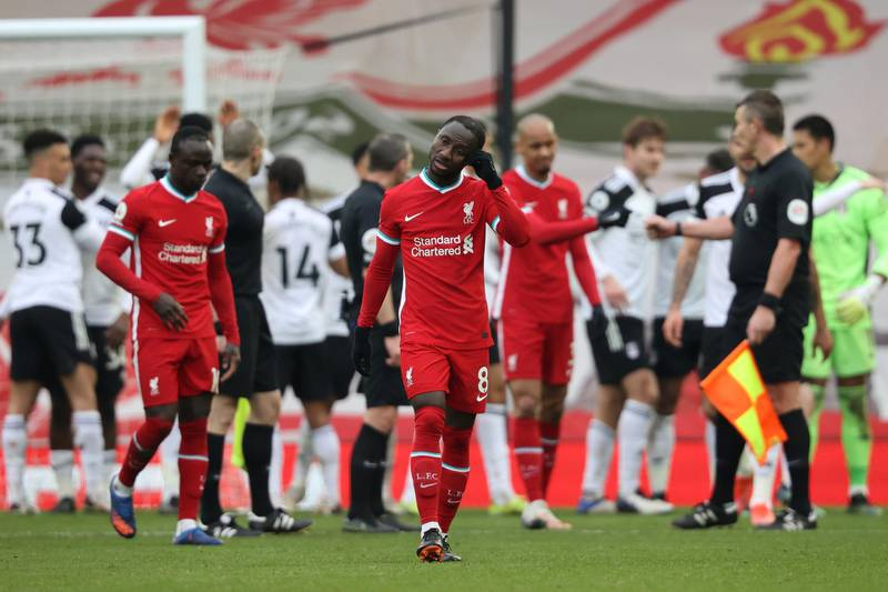 LIVERPOOL, ENGLAND - MARCH 07: Naby Keita of Liverpool looks dejected following the Premier League match between Liverpool and Fulham at Anfield on March 07, 2021 in Liverpool, England. Sporting stadiums around the UK remain under strict restrictions due to the Coronavirus Pandemic as Government social distancing laws prohibit fans inside venues resulting in games being played behind closed doors. (Photo by Clive Brunskill/Getty Images)