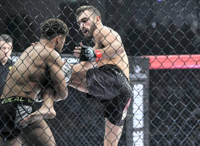 Abu Dhabi, United Arab Emirates - Mohammad Yahya, UAE fighter defeats Ramadan Noaman, from Egypt for the UAE Warriors Fighting Championship at Mubadala Arena, Zayed Sports City. Khushnum Bhandari for The National