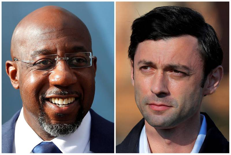 Democratic U.S. Senate candidates Rev. Raphael Warnock and Jon Ossoff are seen in a combination of file photographs as they campaign on election day in Georgia's U.S. Senate runoff election, in Marietta and Atlanta, Georgia, U.S., January 5, 2021. Pictures taken January 5, 2021.  REUTERS/Mike Segar, Brian Snyder