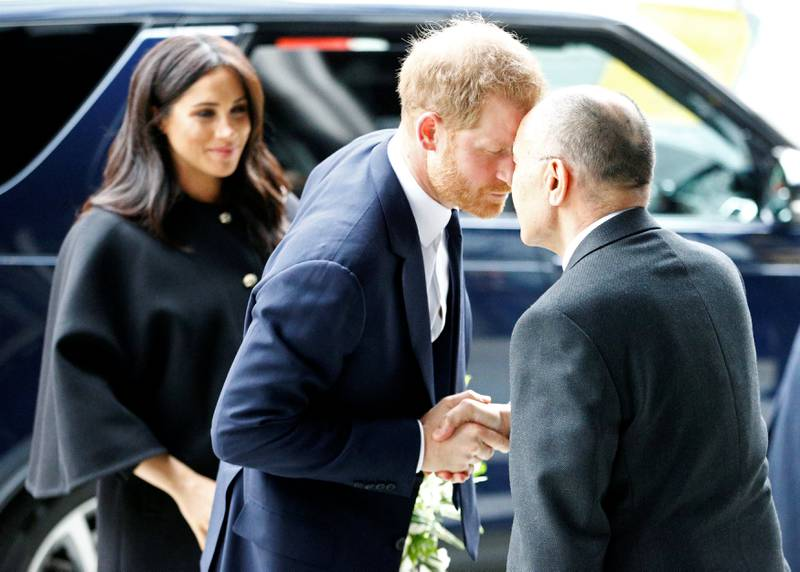 Britain's Prince Harry and Meghan, Duchess of Sussex arrive at the New Zealand House to sign the book of condolence on behalf of the Royal Family in London, Britain March 19, 2019. REUTERS/Henry Nicholls