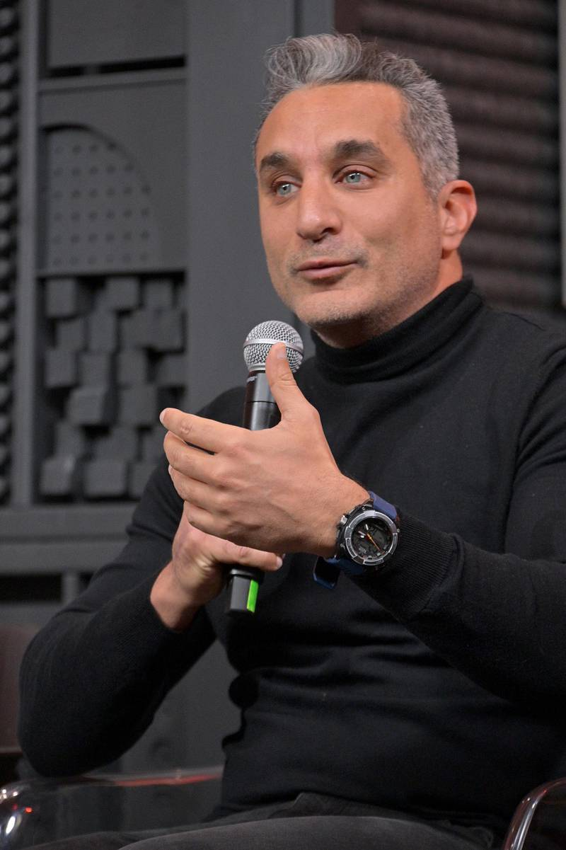 PARK CITY, UTAH - FEBRUARY 01: Bassem Youssef speaks onstage during the 2020 Sundance Film Festival The Feeling Of Exile Panel at Filmmaker Lodge on February 01, 2020 in Park City, Utah.   Michael Loccisano/Getty Images/AFP
