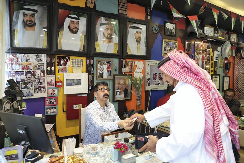 DUBAI , UNITED ARAB EMIRATES , January 9 – 2019 :- Majeed Al Ustad , owner at the Ustad Special Kabab Iranian restaurant in Bur Dubai in Dubai. ( Pawan Singh / The National ) For News. Story by Nick Webster