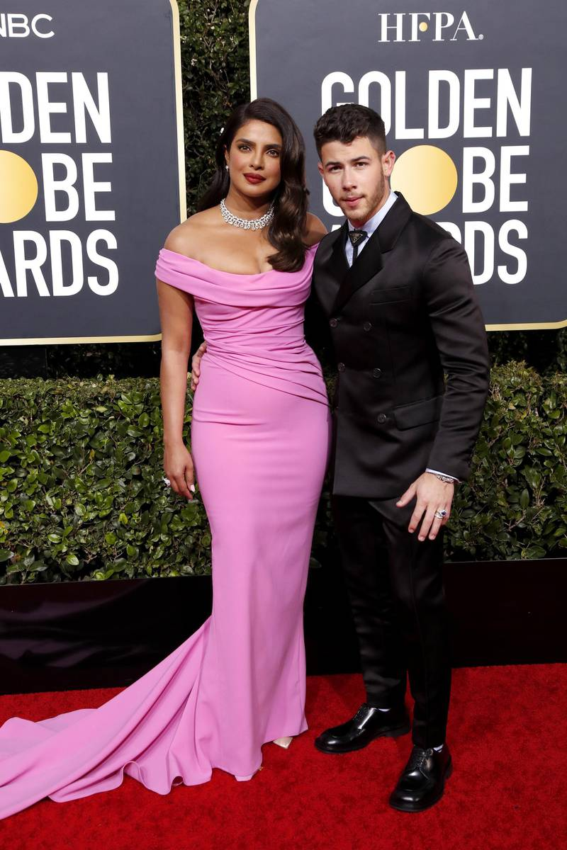 epa08105799 Priyanka Chopra and Nick Jonas arrive for the 77th annual Golden Globe Awards ceremony at the Beverly Hilton Hotel, in Beverly Hills, California, USA, 05 January 2020.  EPA-EFE/NINA PROMMER