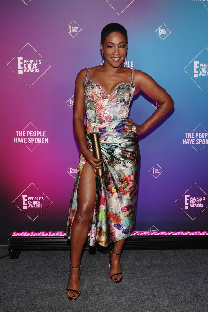 SANTA MONICA, CALIFORNIA - NOVEMBER 15: 2020 E! PEOPLE'S CHOICE AWARDS -- In this image released on November 15, Tiffany Haddish, The Female Movie Star of 2020, attends the 2020 E! People's Choice Awards held at the Barker Hangar in Santa Monica, California and on broadcast on Sunday, November 15, 2020. (Photo by Todd Williamson/E! Entertainment/NBCU Photo Bank via Getty Images)