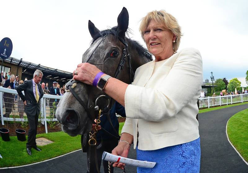 Trainer Jessica Harrington with Alpha Centauri after their win Tattersalls 1000 Guineas during day two of the 2018 Tattersalls Irish Guineas Festival at Curragh Racecourse, County Kildare. PRESS ASSOCIATION Photo. Picture date: Sunday May 27, 2018. See PA story RACING Curragh. Photo credit should read: PA Wire