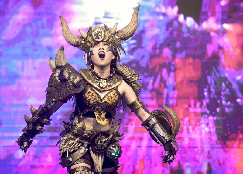 Dubai, United Arab Emirates, February 21, 2020.  Cosplay at Esports Festival World Finals at Meydan Grandstand, Dubai.  1st place winner of the contest, Isabel Cueva as Nergigante.    Victor Besa / The NationalSection:  WkReporter:  None