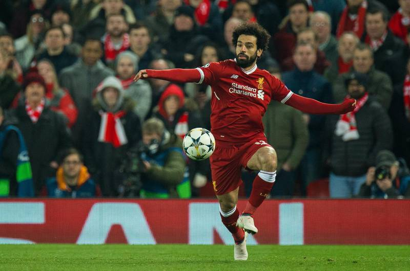 epa06585888 Mohamed Salah of Liverpool in action during the UEFA Champions League round of 16 second leg soccer match held at Anfield, Liverpool, Britain, 6 March 2018.  EPA/Peter Powell .
