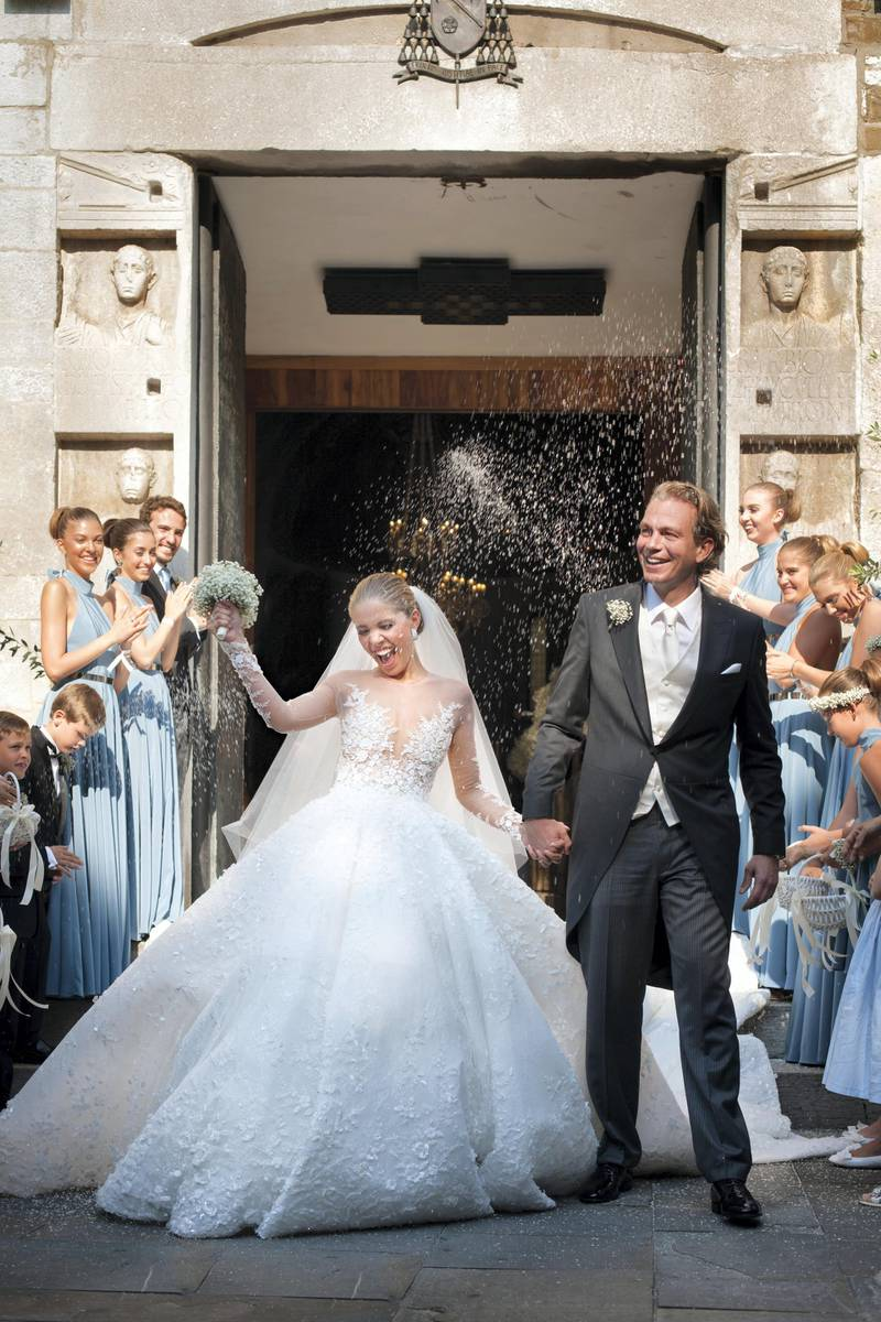 TRIESTE, ITALY - JUNE 16:  (GERMANY, AUSTRIA, SWITZERLAND OUT UNTIL 26 June 2017) Victoria Swarovski and Werner Muerz exit the church after their wedding  on June 16, 2017 in Trieste, Italy. (Photo by Chris Singer/Johannes Kernmayer/CUEX GmbH/Getty Images)
