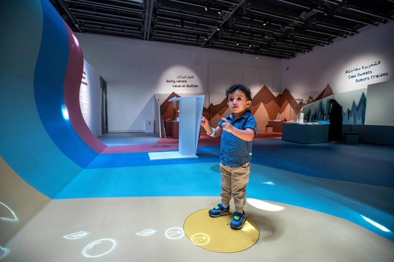 Louvre Abu Dhabi Children's Museum reopens this week. Preview of the revamped space June, 15, 2021. Elias Kadoura, 2, enjoys the exhibition.Victor Besa / The National. Reporter: Alexandra Chaves for Arts & Culture