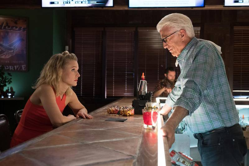 """This image released by NBC shows Kristen Bell, left, and Ted Danson in a scene from """"The Good Place.""""  On Thursday, Dec. 6, 2018, the program was nominated for a Golden Globe award for best comedy series. The 76th Golden Globe Awards will be held on Sunday, Jan. 6.(Colleen Hayes/NBC via AP)"""