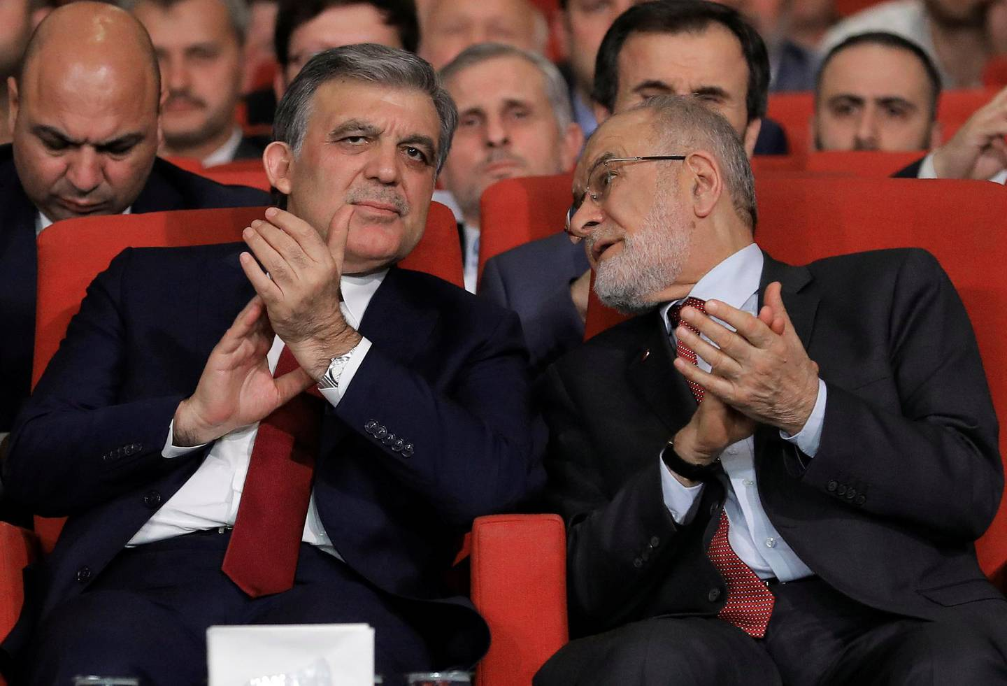 Former Turkish President Abdullah Gul is seen with Saadet Party leader Temel Karamollaoglu during a ceremony in Istanbul, Turkey April 24, 2018. Picture taken April 24, 2018. REUTERS/Huseyin Aldemir