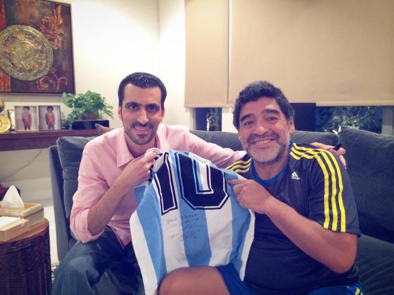 Tariq Al-Sharabi with Diego Maradona in his Villa in Dubai. Courtesy Tariq Al-Sharabi