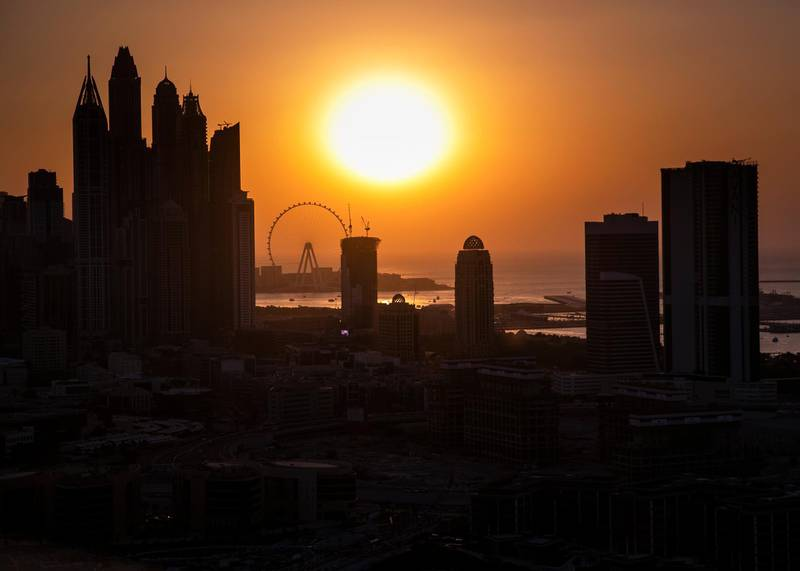 DUBAI, UNITED ARAB EMIRATES. 25 NOVEMBER 2020. Dubai skyline seen from Al Sufouh 2.(Photo: Reem Mohammed/The National)Reporter:Section:
