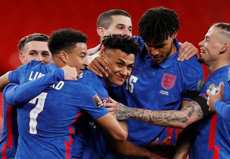 Soccer Football - World Cup Qualifiers Europe - Group I - England v San Marino - Wembley Stadium, London, Britain - March 25, 2021 England's Ollie Watkins celebrates scoring their fifth goal with teammates Pool via REUTERS/Adrian Dennis     TPX IMAGES OF THE DAY