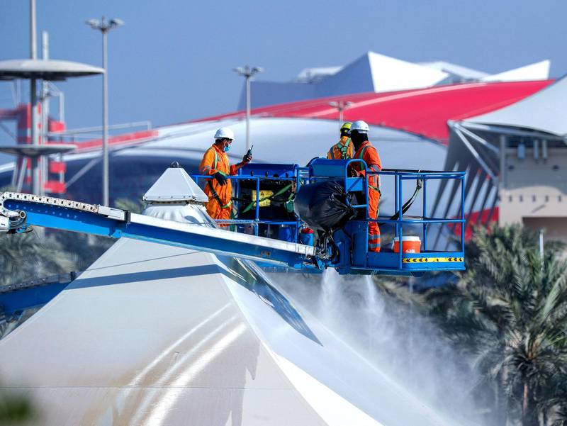 Abu Dhabi, United Arab Emirates, November 13, 2020.  Cleaning operations in preparation for the F1 Abu Dhabi 2020 race season at the Yas Marina Circuit. Victor Besa/The NationalSection:  NAFor:  Standalone/Stock