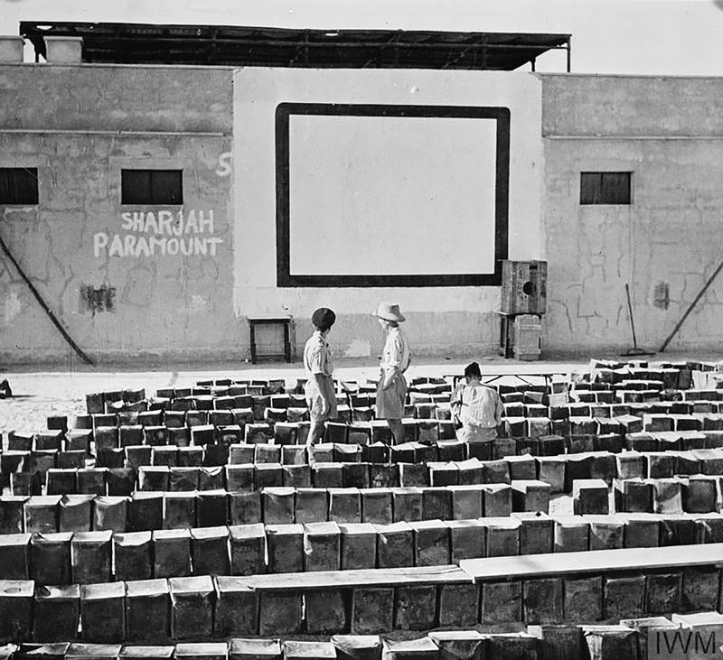 WITH THE R.A.F. IN THE PERSIAN GULF (CM 6015) 'Sharjah Paramount' an open-air cinema at an R.A.F. station in the Persian Gulf. Copyright: © IWM. Original Source: http://www.iwm.org.uk/collections/item/object/205224709