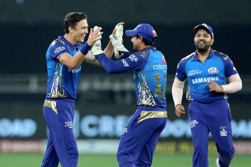 Trent Boult of Mumbai Indians celebrates the wicket of Ajinkya Rahane of Delhi Capitalsduring the final of season 13 of the Dream 11 Indian Premier League (IPL) between the Mumbai Indians and the Delhi Capitals held at the Dubai International Cricket Stadium, Dubai in the United Arab Emirates on the 10th November 2020.  Photo by: Vipin Pawar  / Sportzpics for BCCI
