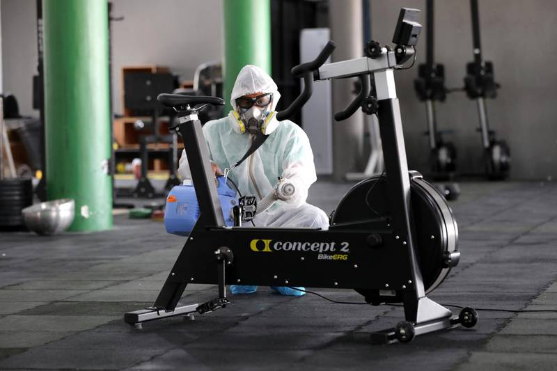 Dubai, United Arab Emirates - Reporter: N/A: News. Metalize clean and prepare there space as cinemas and gyms prepare to open tomorrow in Dubai. Tuesday, May 26th, 2020. Dubai. Chris Whiteoak / The National
