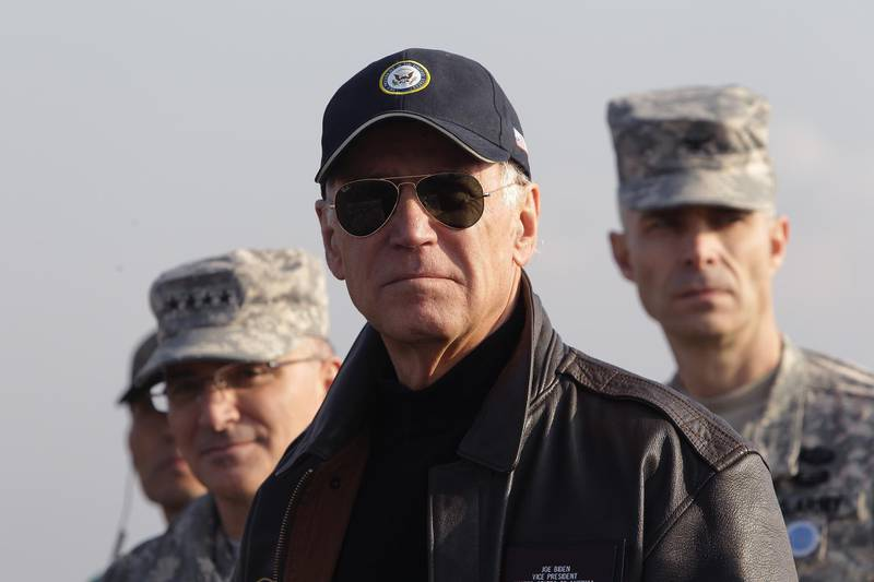 PANMUNJOM, SOUTH KOREA - DECEMBER 07:  U.S. Vice President Joe Biden visits to observation post Ouellette at the Demilitarized Zone (DMZ) on December 7, 2013 in Panmunjom, South Korea. Vice President Biden has been visiting Japan, China and South Korea this week. Some of the main issues to discuss are the Trans-Pacific Partnership, diplomacy on the East China Sea and the South China Sea, economic relationship with China, implementation of the U.S.-Korea Free Trade Agreement, and alliance issues in both Japan and Korea.  (Photo by Chung Sung-Jun/Getty Images)